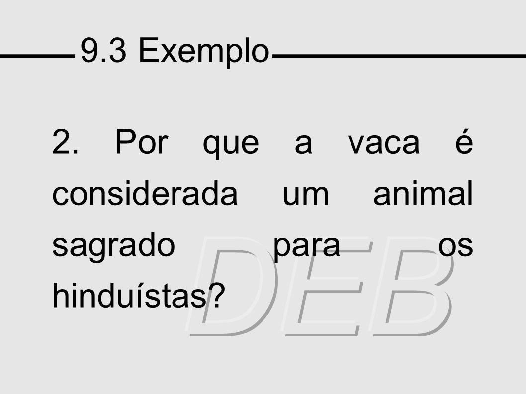 9.3 Exemplo 2. Por que a vaca é considerada um animal sagrado para os hinduístas DEB