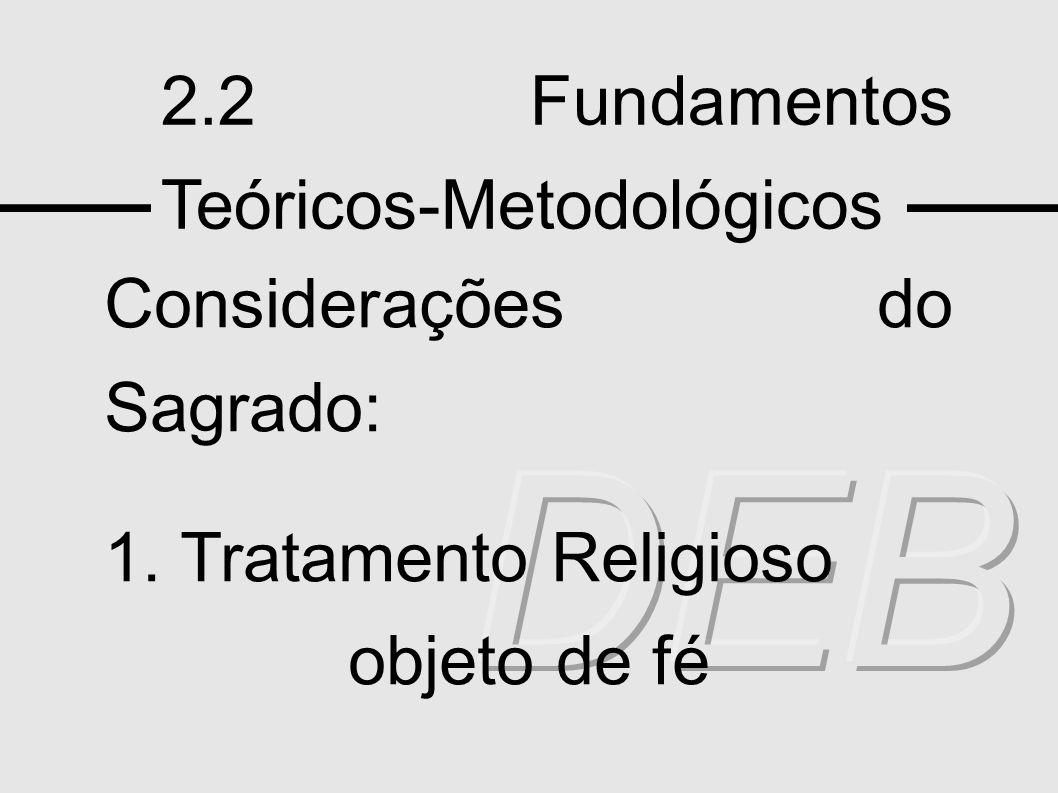DEB 2.2 Fundamentos Teóricos-Metodológicos Considerações do Sagrado: