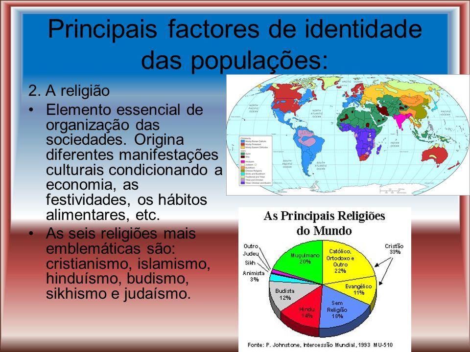 Principais factores de identidade das populações: