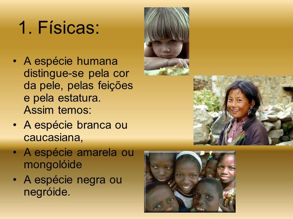 1. Físicas: A espécie humana distingue-se pela cor da pele, pelas feições e pela estatura. Assim temos: