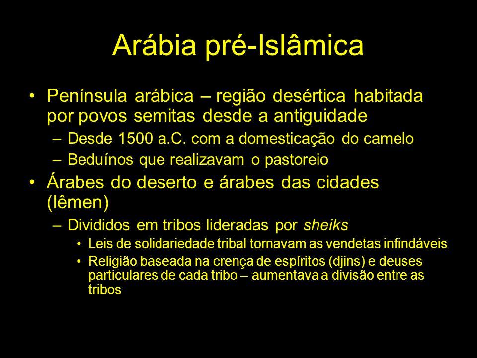 Arábia pré-Islâmica Península arábica – região desértica habitada por povos semitas desde a antiguidade.
