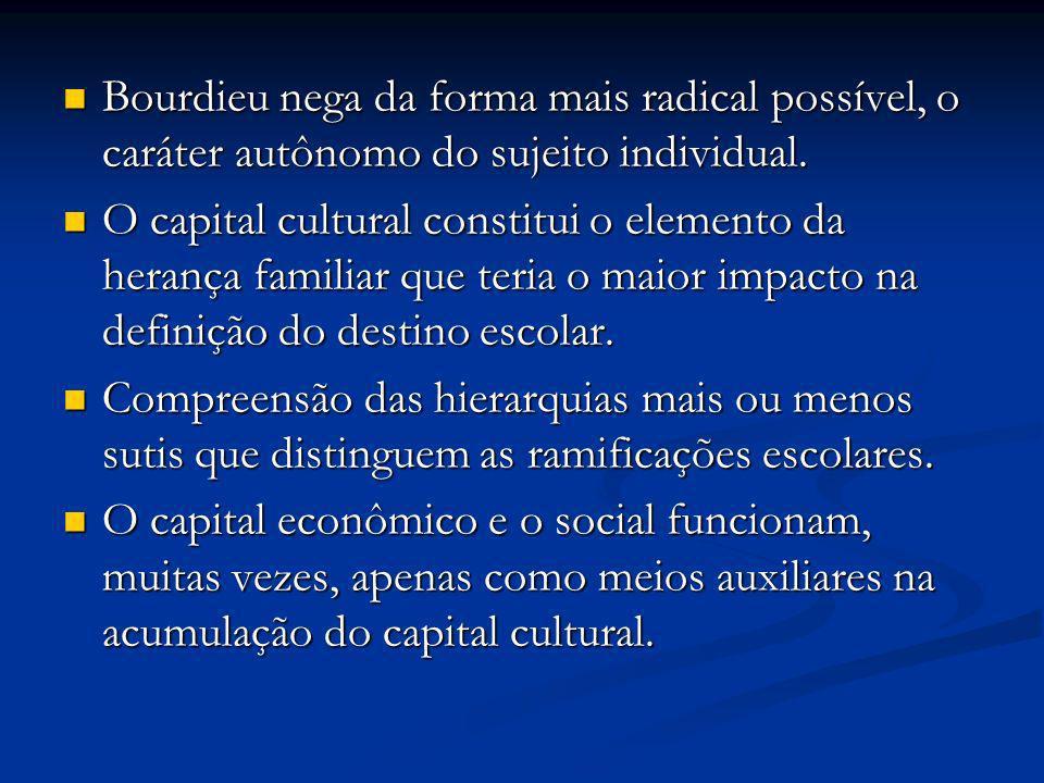 Bourdieu nega da forma mais radical possível, o caráter autônomo do sujeito individual.
