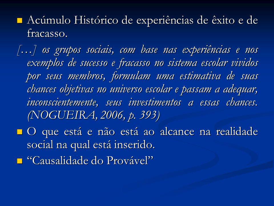 Acúmulo Histórico de experiências de êxito e de fracasso.