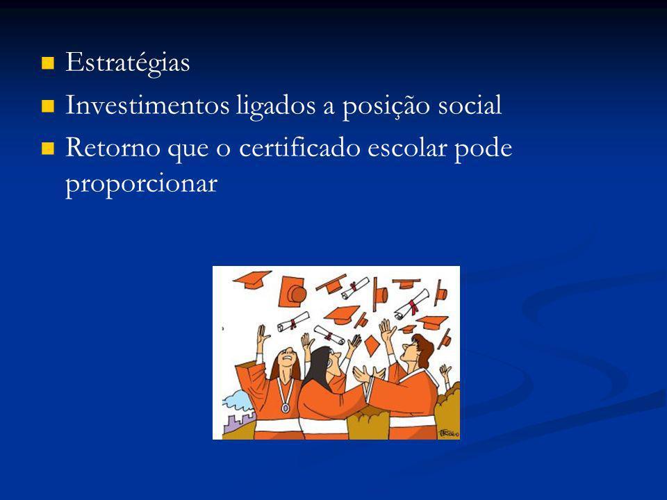 Estratégias Investimentos ligados a posição social.