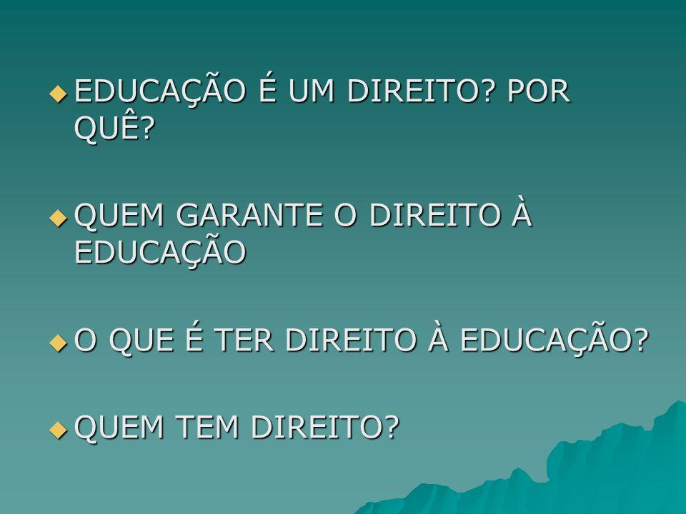 EDUCAÇÃO É UM DIREITO POR QUÊ