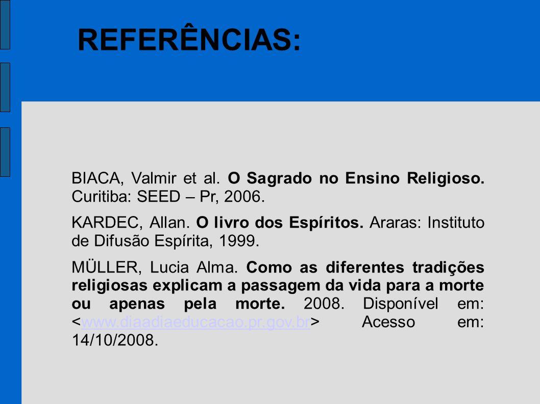 REFERÊNCIAS:BIACA, Valmir et al. O Sagrado no Ensino Religioso. Curitiba: SEED – Pr, 2006.