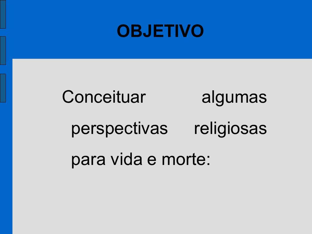 OBJETIVO Conceituar algumas perspectivas religiosas para vida e morte:
