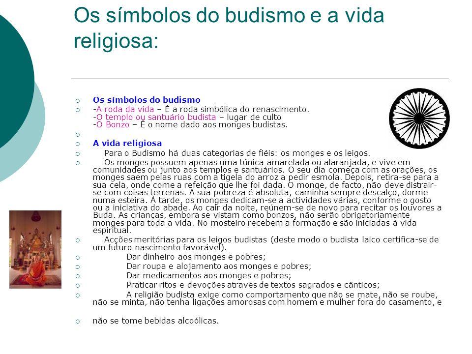 Os símbolos do budismo e a vida religiosa: