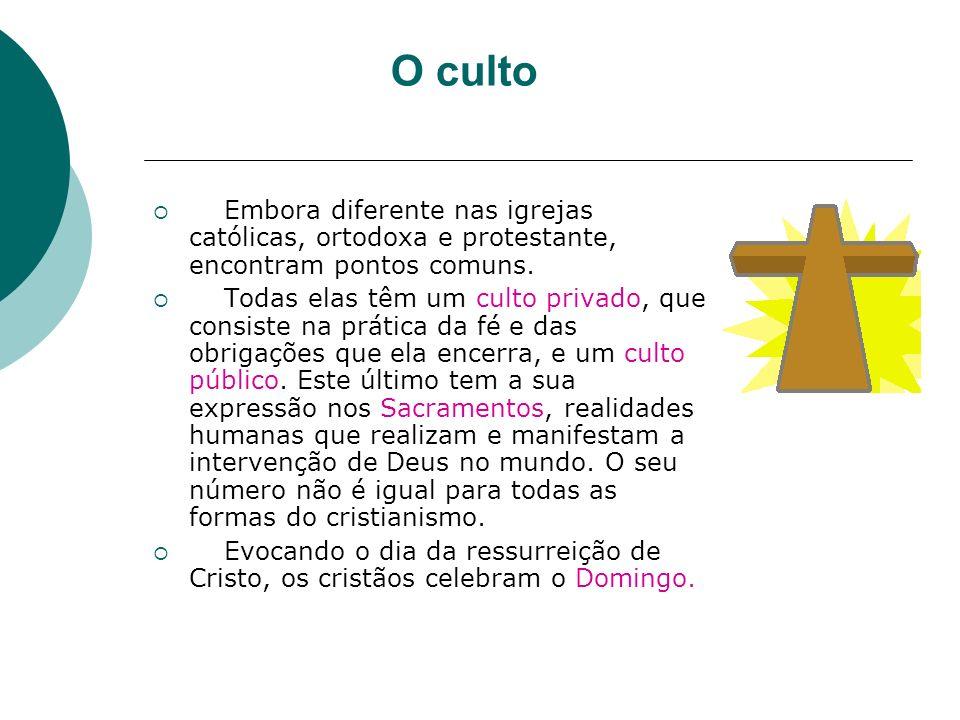 O culto Embora diferente nas igrejas católicas, ortodoxa e protestante, encontram pontos comuns.