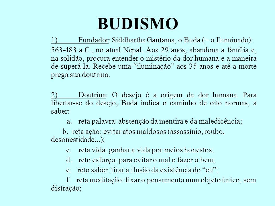 BUDISMO 1) Fundador: Siddhartha Gautama, o Buda (= o Iluminado):