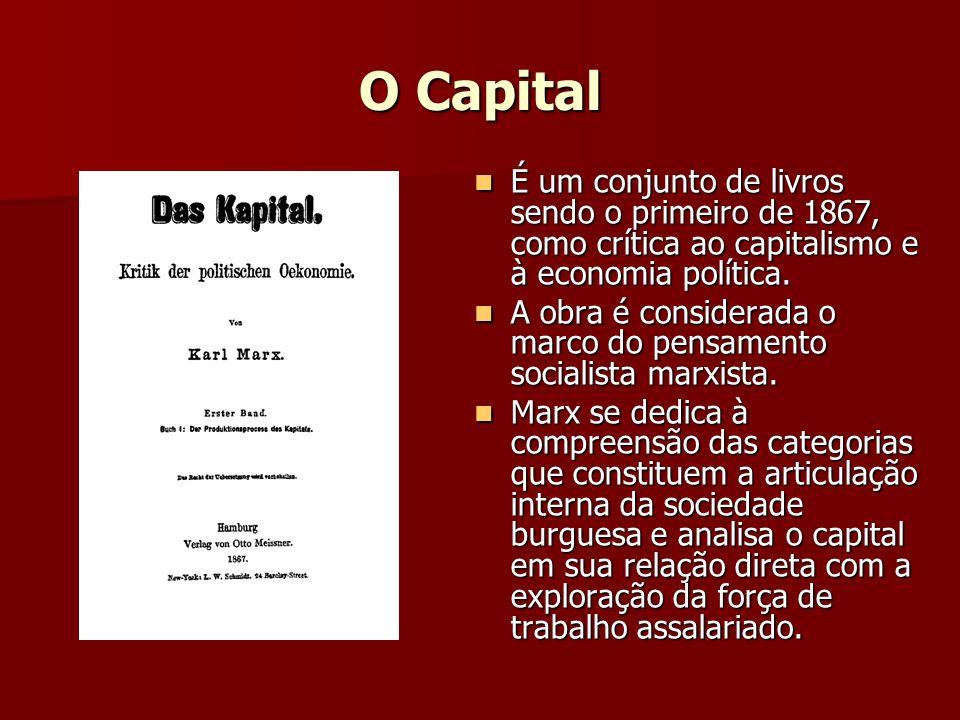 O Capital É um conjunto de livros sendo o primeiro de 1867, como crítica ao capitalismo e à economia política.
