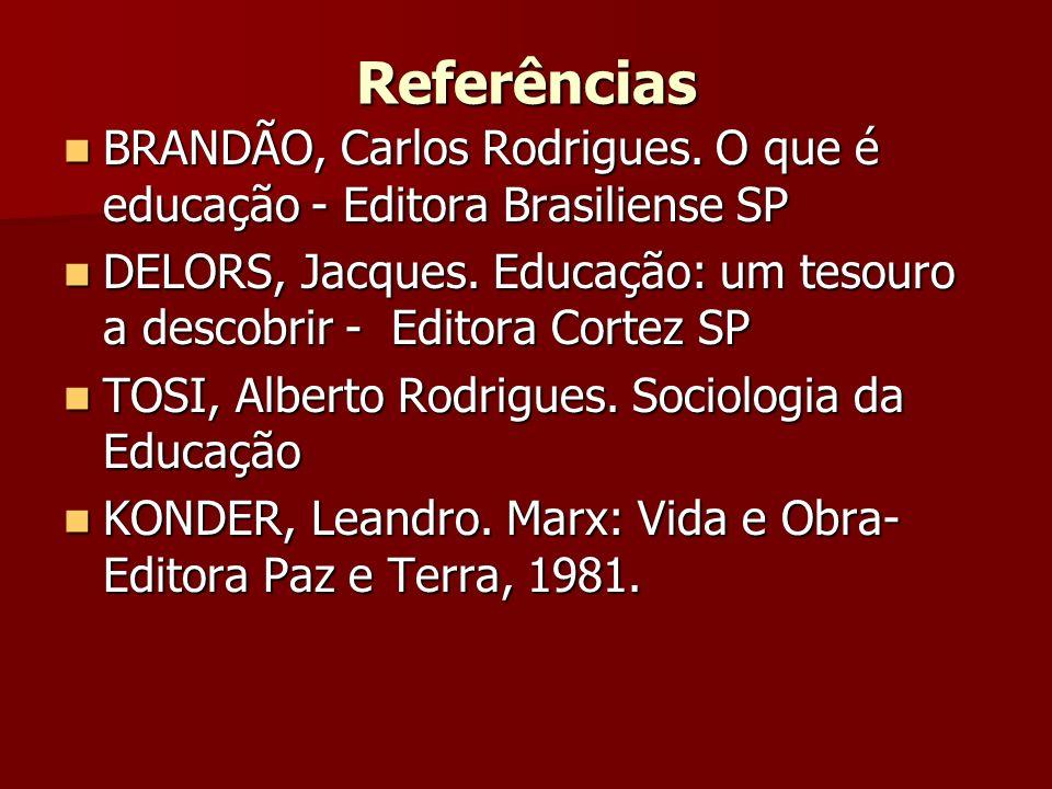 Referências BRANDÃO, Carlos Rodrigues. O que é educação - Editora Brasiliense SP.