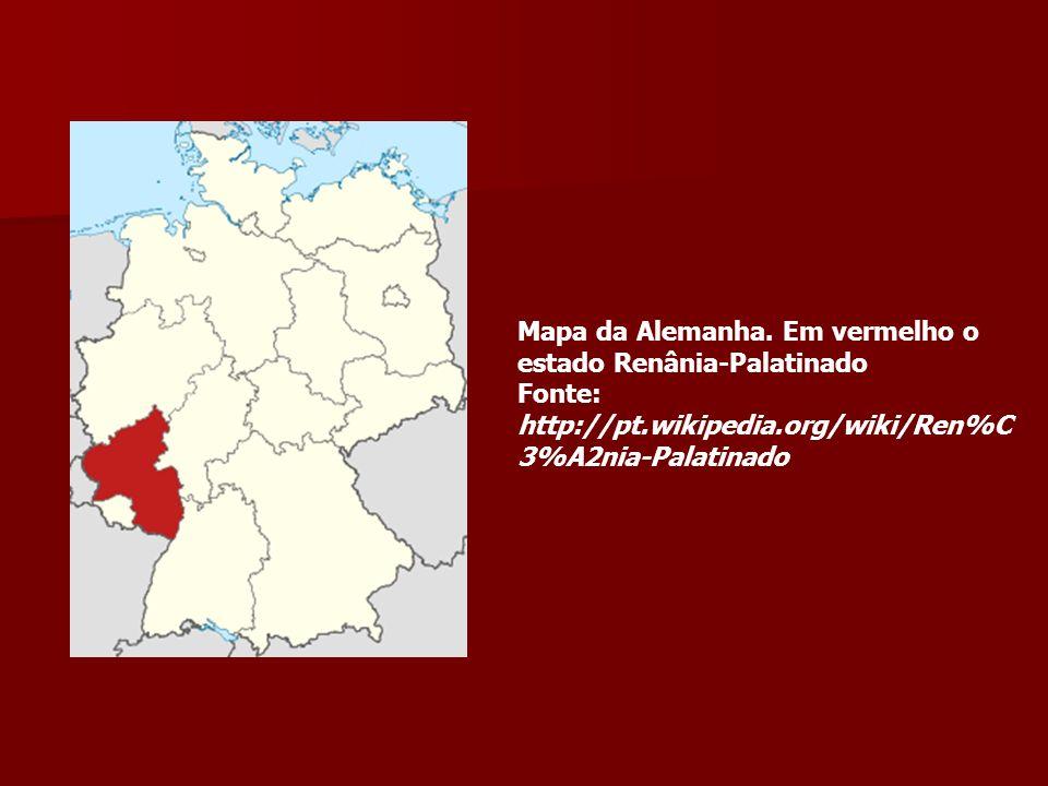 Mapa da Alemanha. Em vermelho o estado Renânia-Palatinado