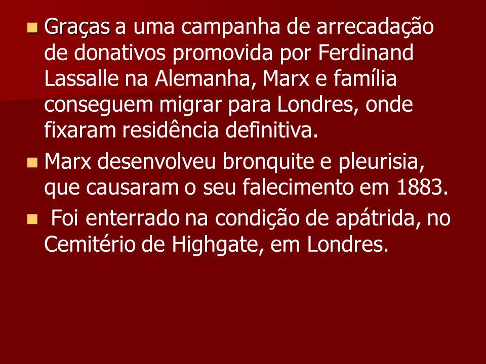 Graças a uma campanha de arrecadação de donativos promovida por Ferdinand Lassalle na Alemanha, Marx e família conseguem migrar para Londres, onde fixaram residência definitiva.