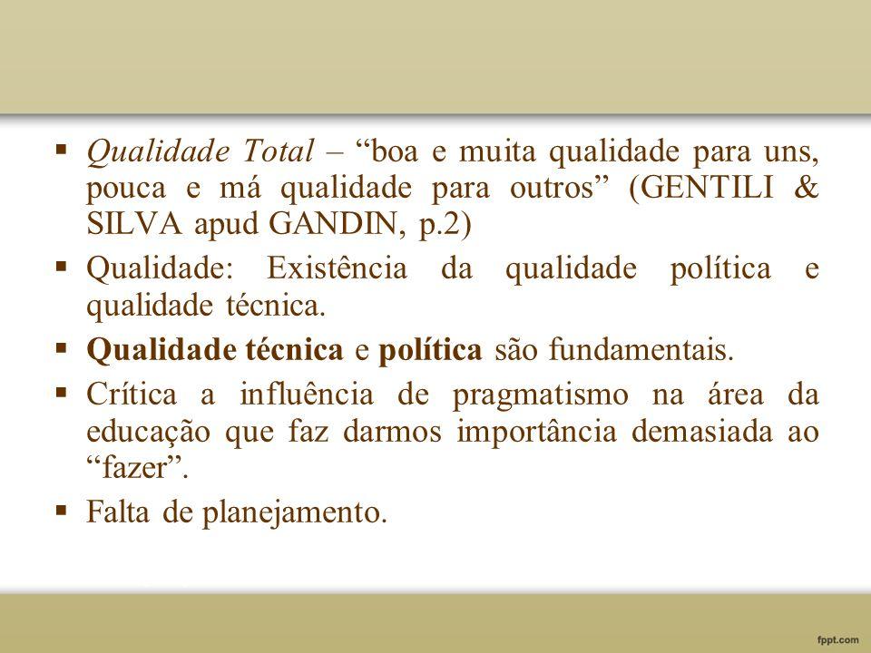 Qualidade Total – boa e muita qualidade para uns, pouca e má qualidade para outros (GENTILI & SILVA apud GANDIN, p.2)
