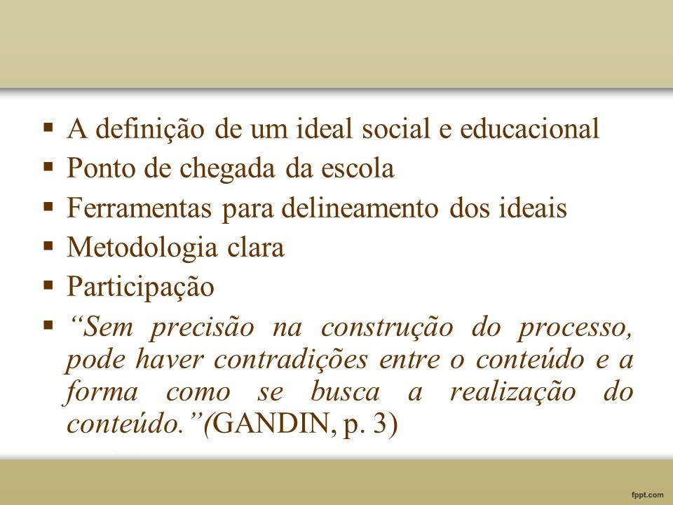 A definição de um ideal social e educacional