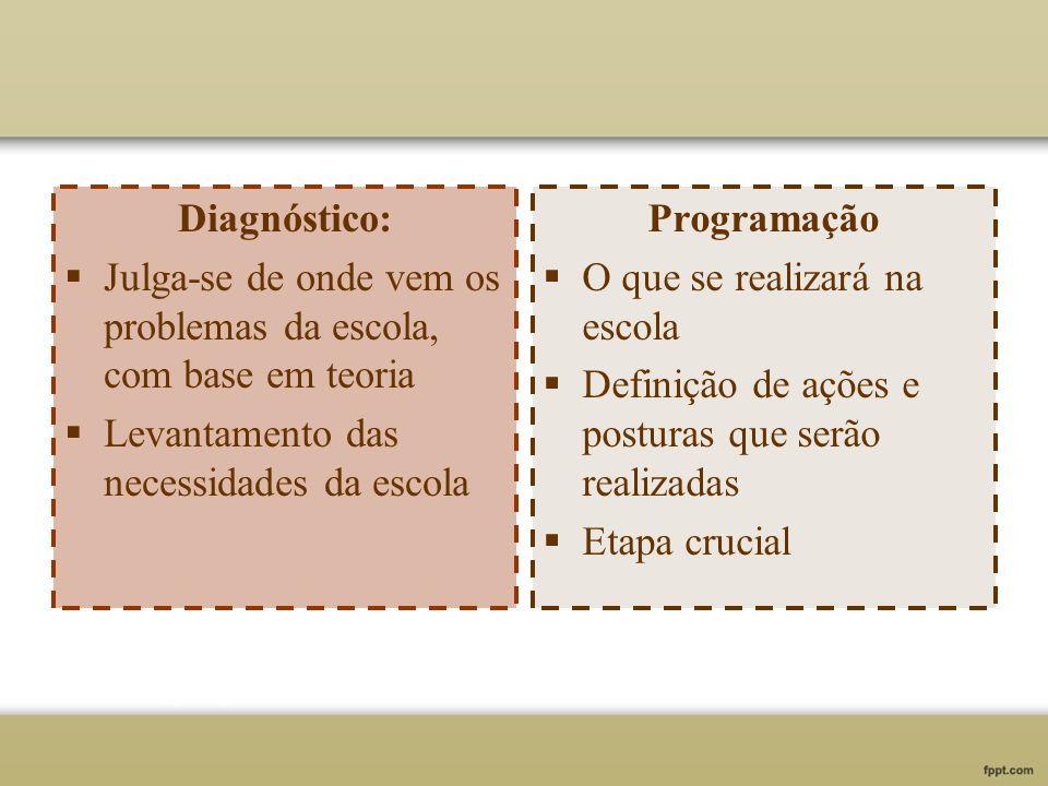 Diagnóstico: Julga-se de onde vem os problemas da escola, com base em teoria. Levantamento das necessidades da escola.