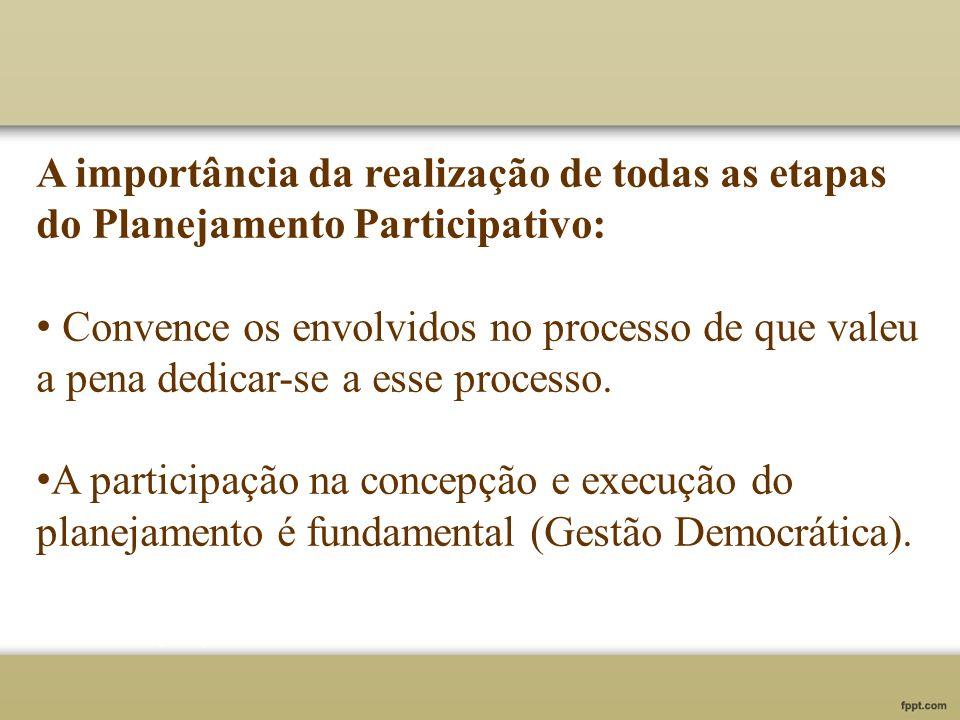 A importância da realização de todas as etapas do Planejamento Participativo:
