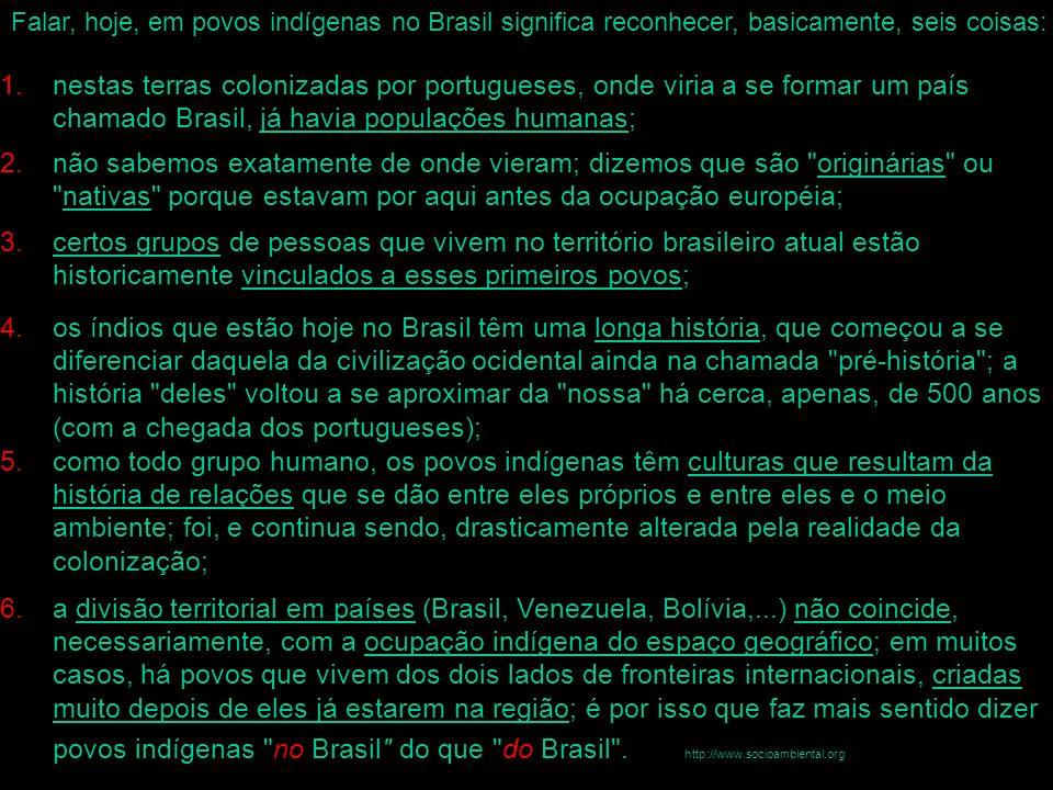 Falar, hoje, em povos indígenas no Brasil significa reconhecer, basicamente, seis coisas: