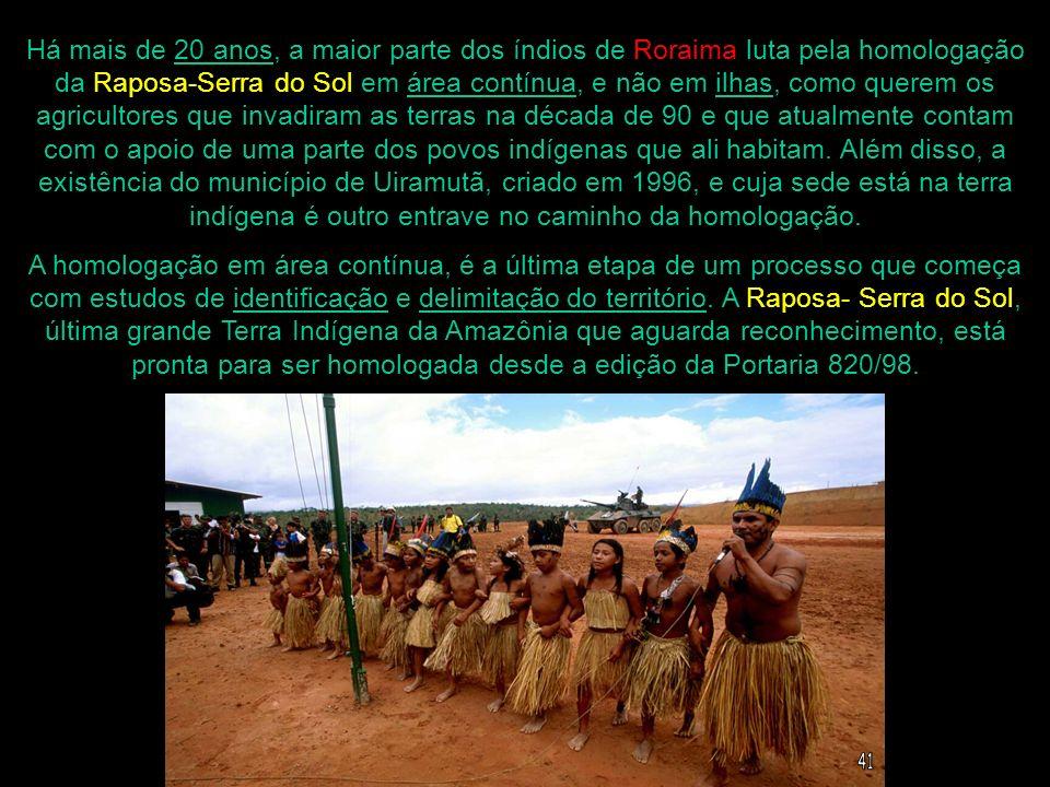 Há mais de 20 anos, a maior parte dos índios de Roraima luta pela homologação da Raposa-Serra do Sol em área contínua, e não em ilhas, como querem os agricultores que invadiram as terras na década de 90 e que atualmente contam com o apoio de uma parte dos povos indígenas que ali habitam. Além disso, a existência do município de Uiramutã, criado em 1996, e cuja sede está na terra indígena é outro entrave no caminho da homologação.