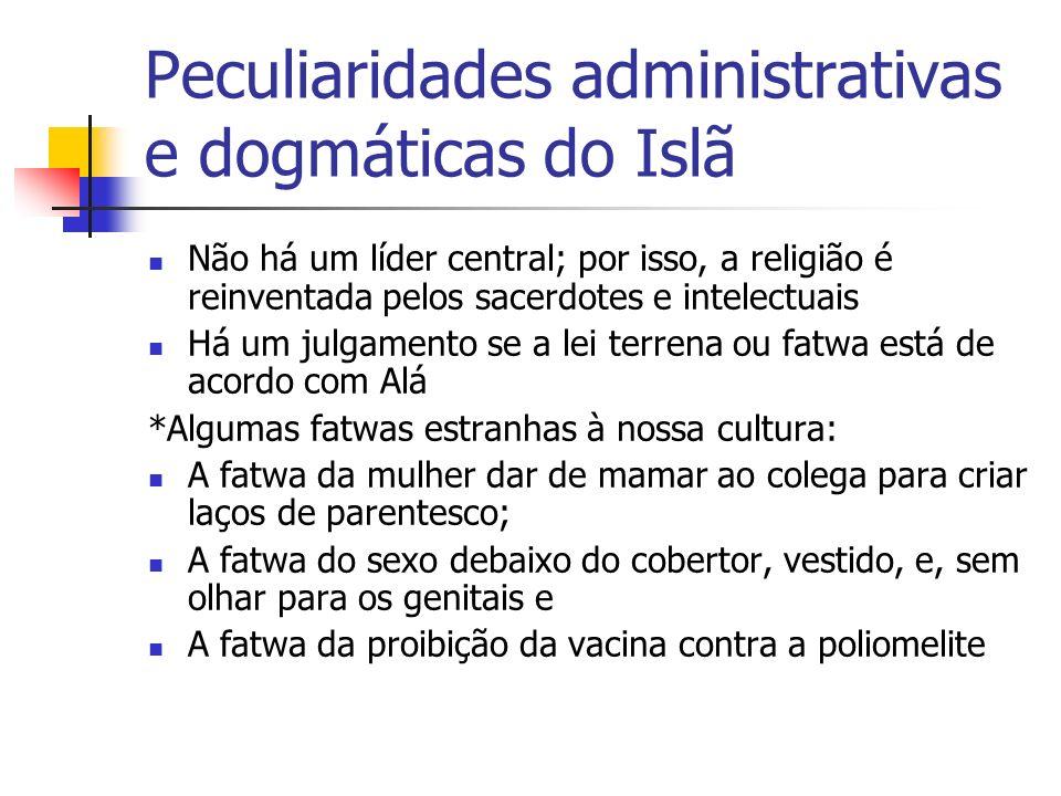 Peculiaridades administrativas e dogmáticas do Islã