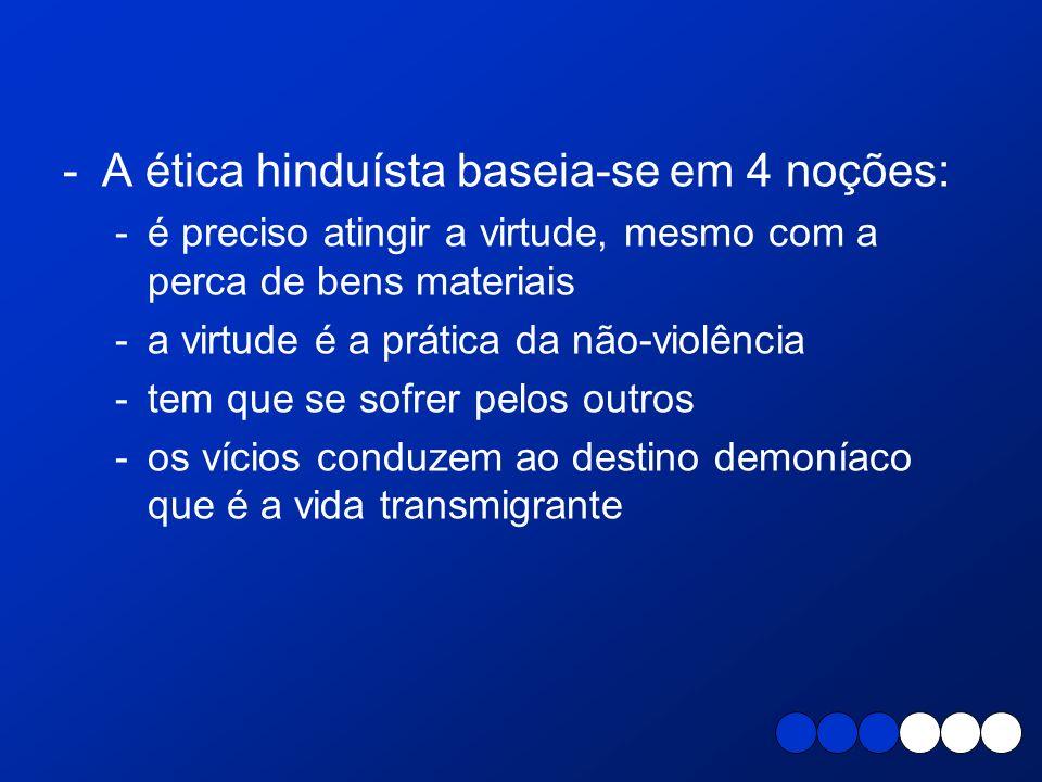 A ética hinduísta baseia-se em 4 noções: