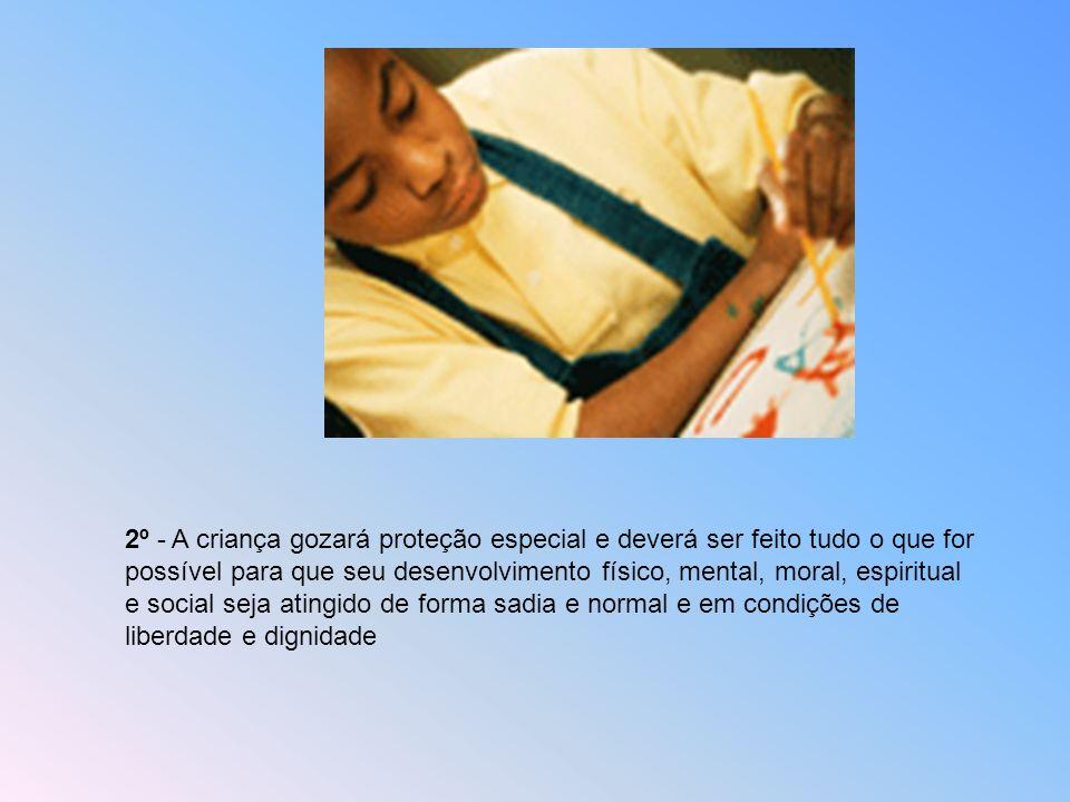 2º - A criança gozará proteção especial e deverá ser feito tudo o que for possível para que seu desenvolvimento físico, mental, moral, espiritual e social seja atingido de forma sadia e normal e em condições de liberdade e dignidade