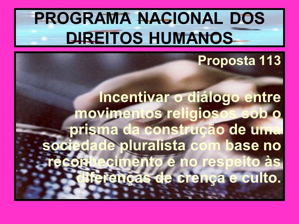 PROGRAMA NACIONAL DOS DIREITOS HUMANOS