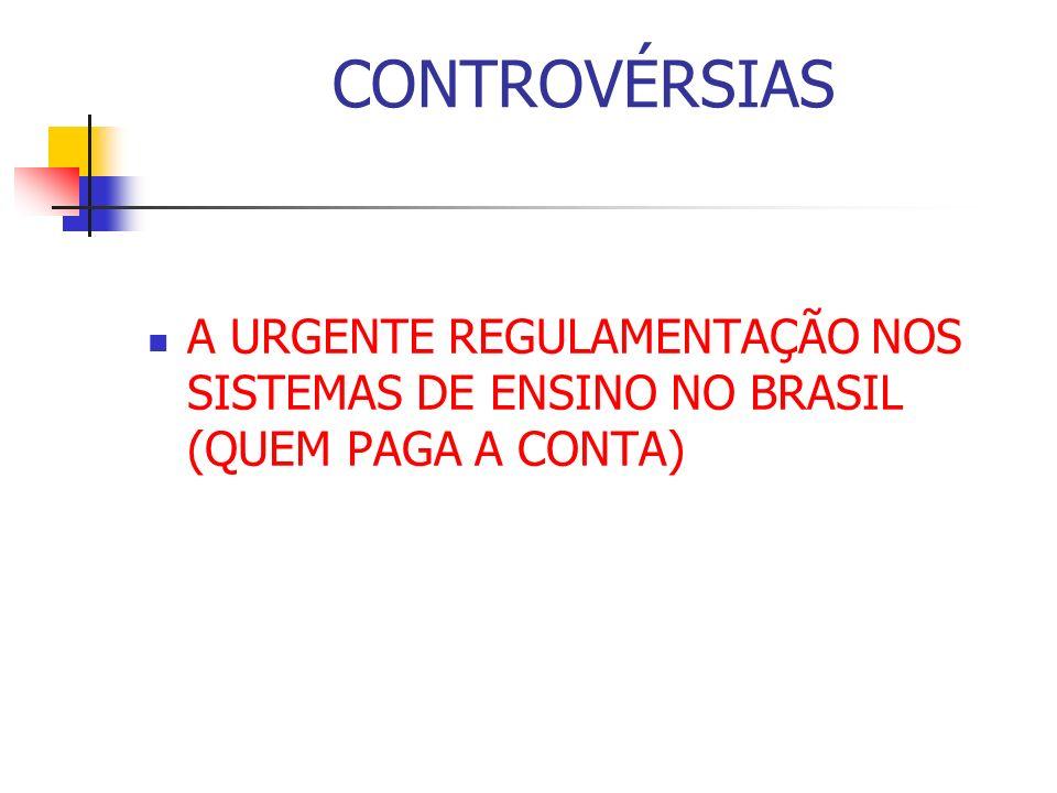 CONTROVÉRSIAS A URGENTE REGULAMENTAÇÃO NOS SISTEMAS DE ENSINO NO BRASIL (QUEM PAGA A CONTA)
