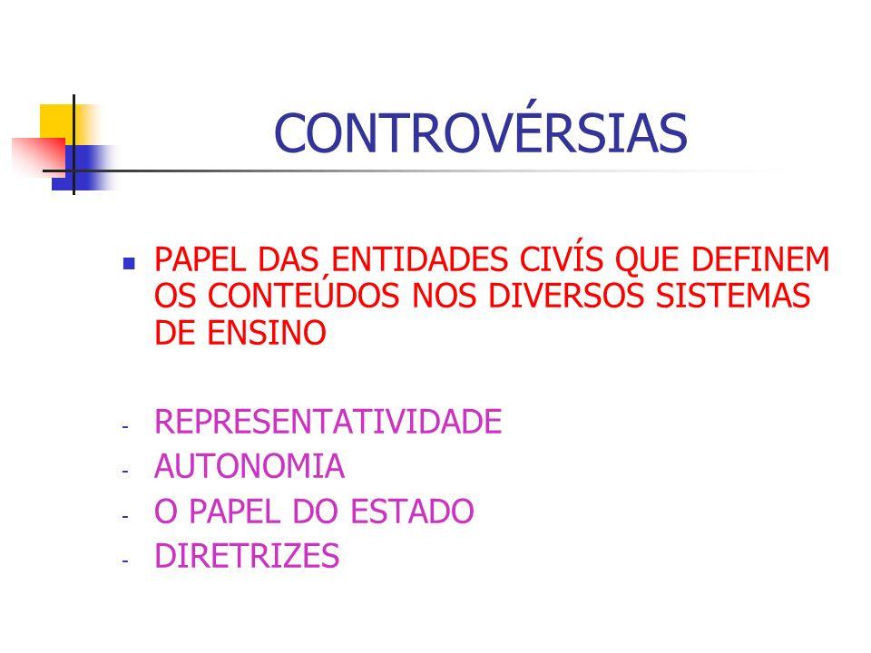 CONTROVÉRSIAS PAPEL DAS ENTIDADES CIVÍS QUE DEFINEM OS CONTEÚDOS NOS DIVERSOS SISTEMAS DE ENSINO. REPRESENTATIVIDADE.