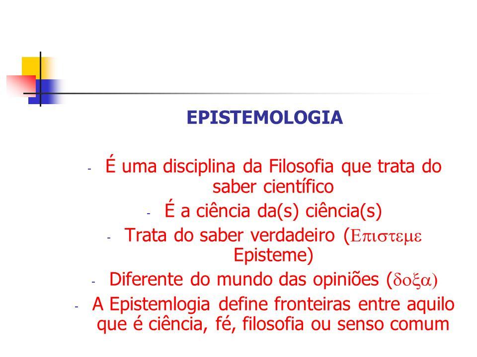 É uma disciplina da Filosofia que trata do saber científico