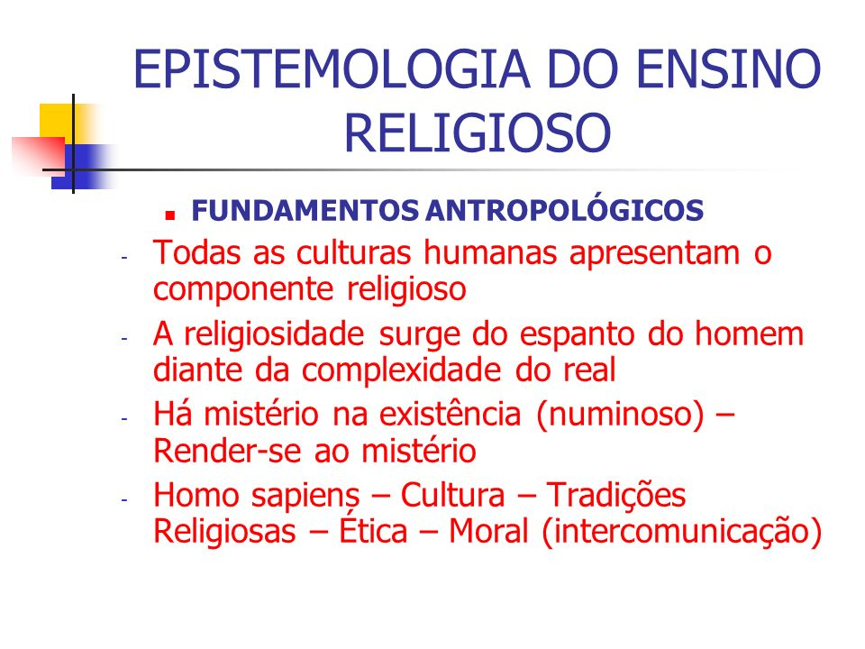 EPISTEMOLOGIA DO ENSINO RELIGIOSO