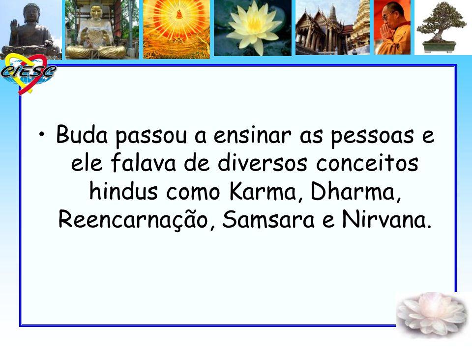 Buda passou a ensinar as pessoas e ele falava de diversos conceitos hindus como Karma, Dharma, Reencarnação, Samsara e Nirvana.
