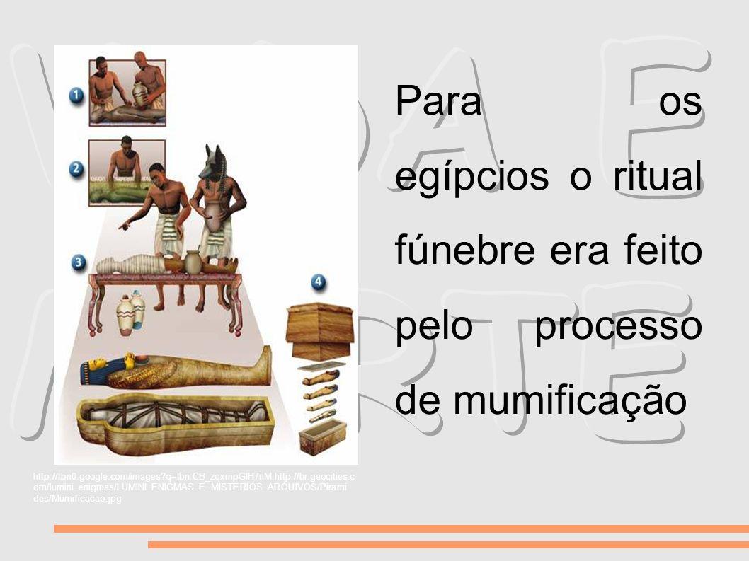 VIDA E MORTE Para os egípcios o ritual fúnebre era feito pelo processo de mumificação.