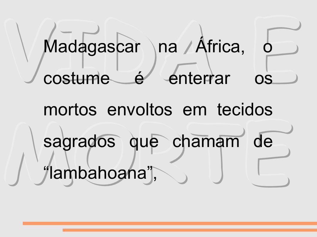 VIDA E MORTE Madagascar na África, o costume é enterrar os mortos envoltos em tecidos sagrados que chamam de lambahoana ,