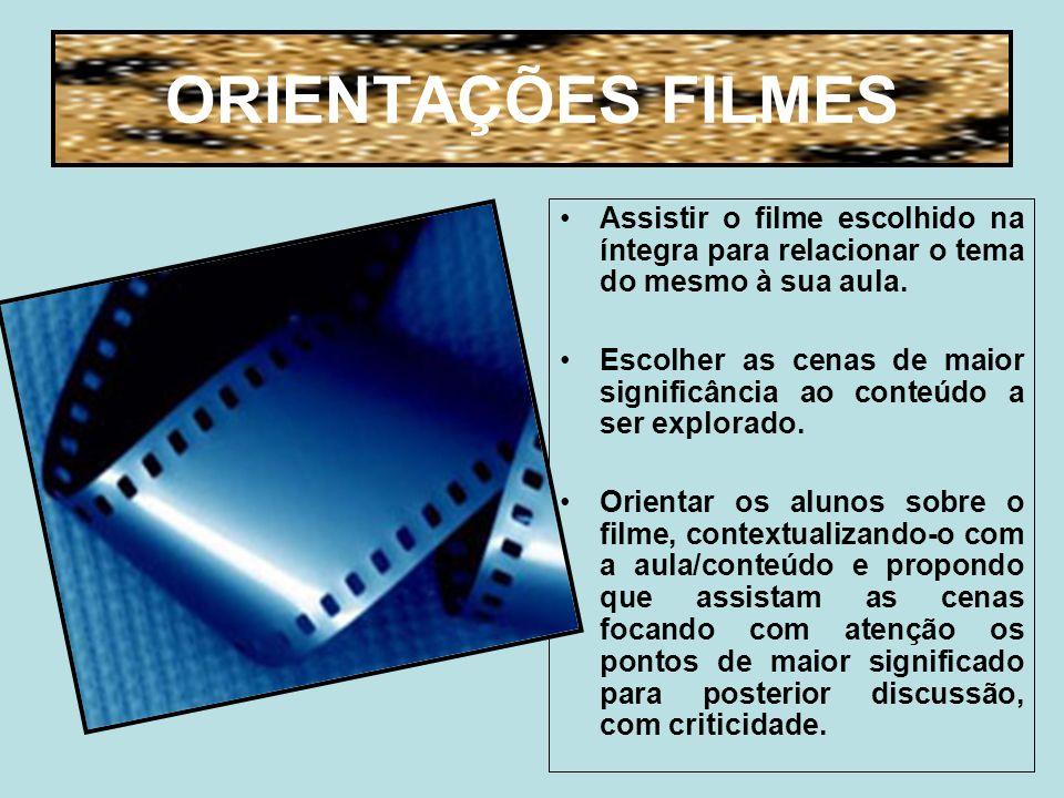 ORIENTAÇÕES FILMES Assistir o filme escolhido na íntegra para relacionar o tema do mesmo à sua aula.