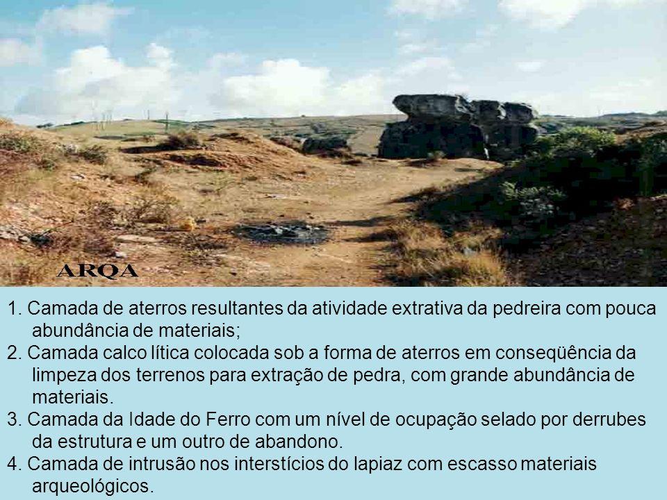 1. Camada de aterros resultantes da atividade extrativa da pedreira com pouca abundância de materiais;