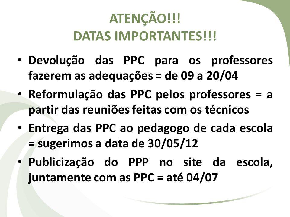 ATENÇÃO!!! DATAS IMPORTANTES!!!