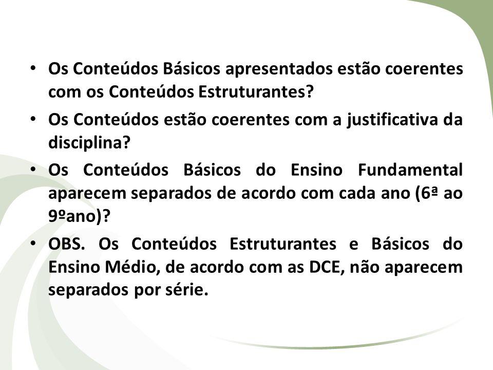Os Conteúdos Básicos apresentados estão coerentes com os Conteúdos Estruturantes