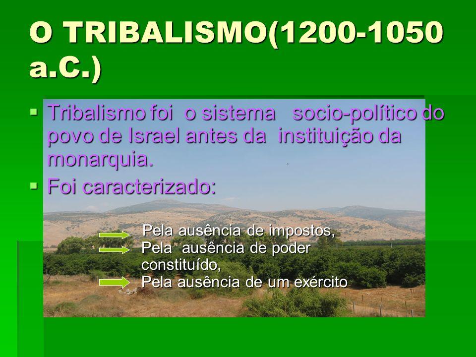 O TRIBALISMO(1200-1050 a.C.) Tribalismo foi o sistema socio-político do povo de Israel antes da instituição da monarquia.