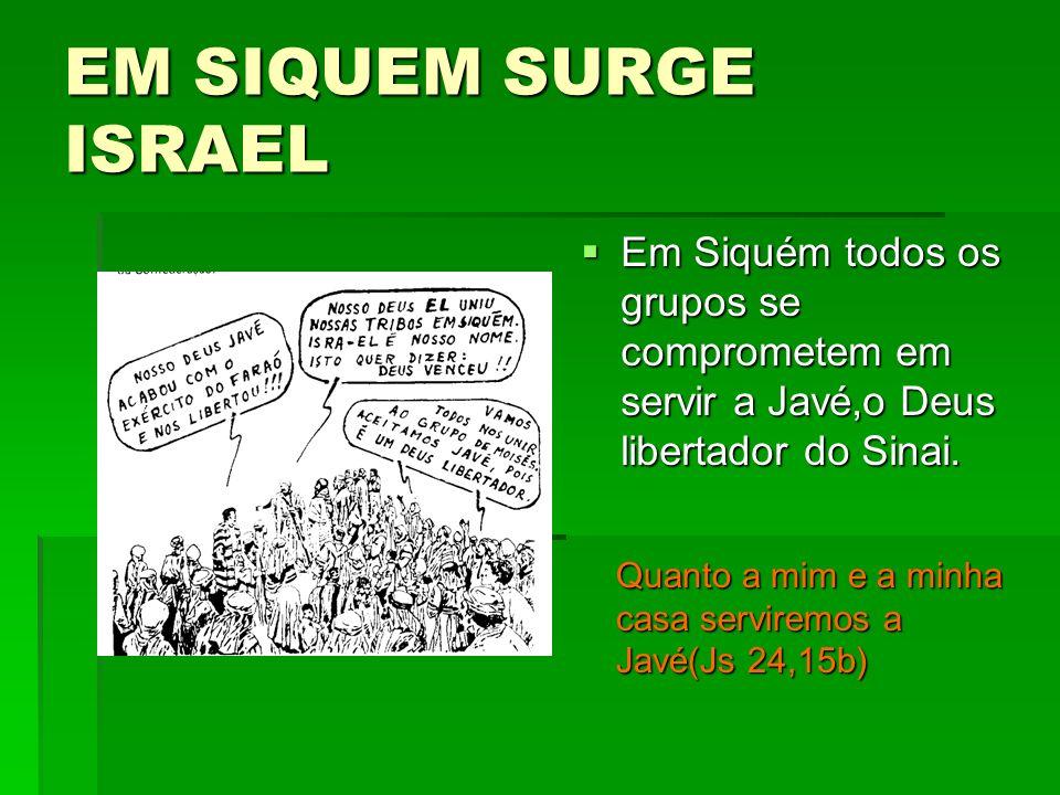 EM SIQUEM SURGE ISRAEL Em Siquém todos os grupos se comprometem em servir a Javé,o Deus libertador do Sinai.