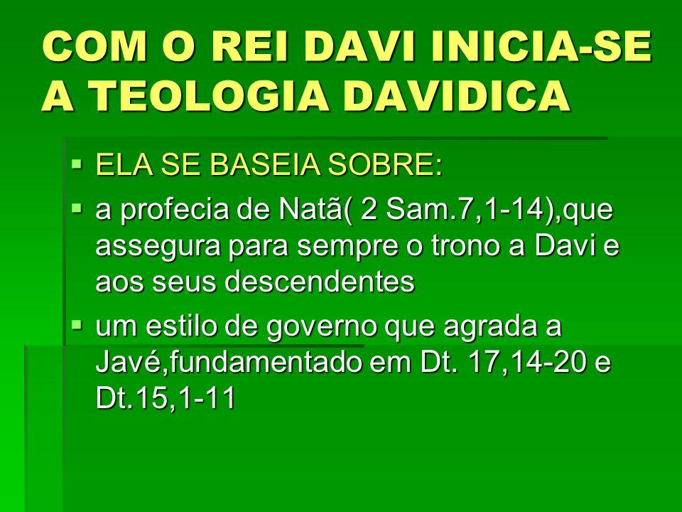 COM O REI DAVI INICIA-SE A TEOLOGIA DAVIDICA