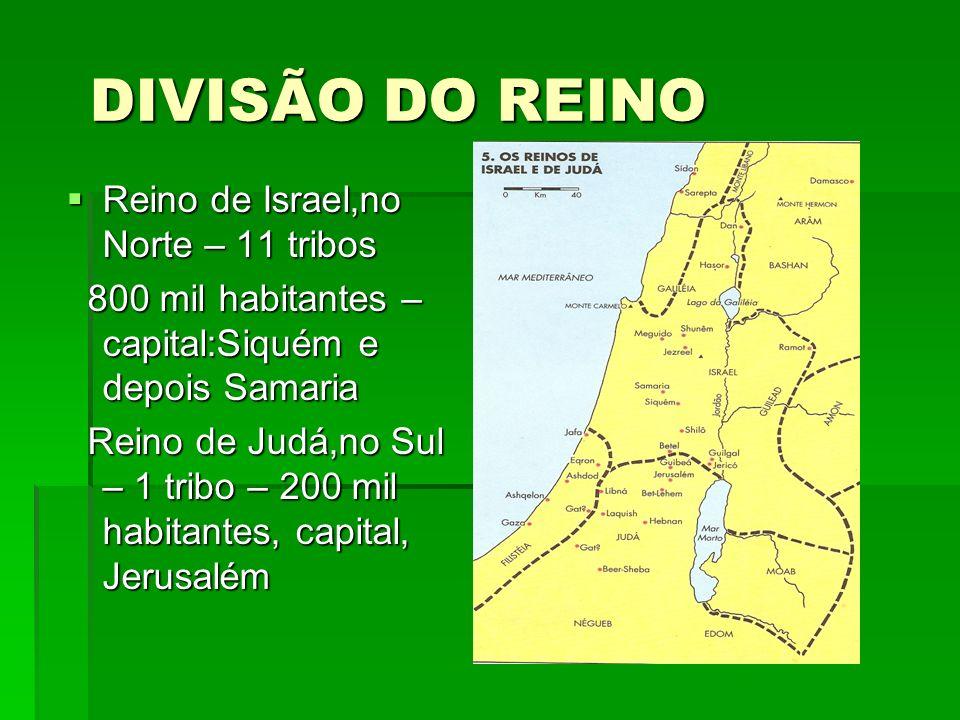 DIVISÃO DO REINO Reino de Israel,no Norte – 11 tribos