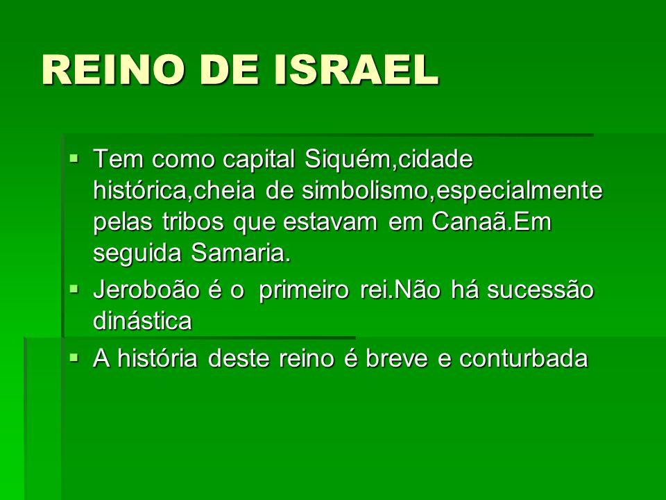 REINO DE ISRAEL Tem como capital Siquém,cidade histórica,cheia de simbolismo,especialmente pelas tribos que estavam em Canaã.Em seguida Samaria.