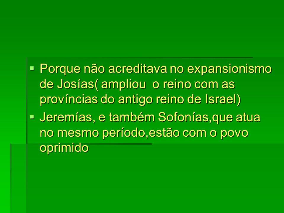 Porque não acreditava no expansionismo de Josías( ampliou o reino com as províncias do antigo reino de Israel)