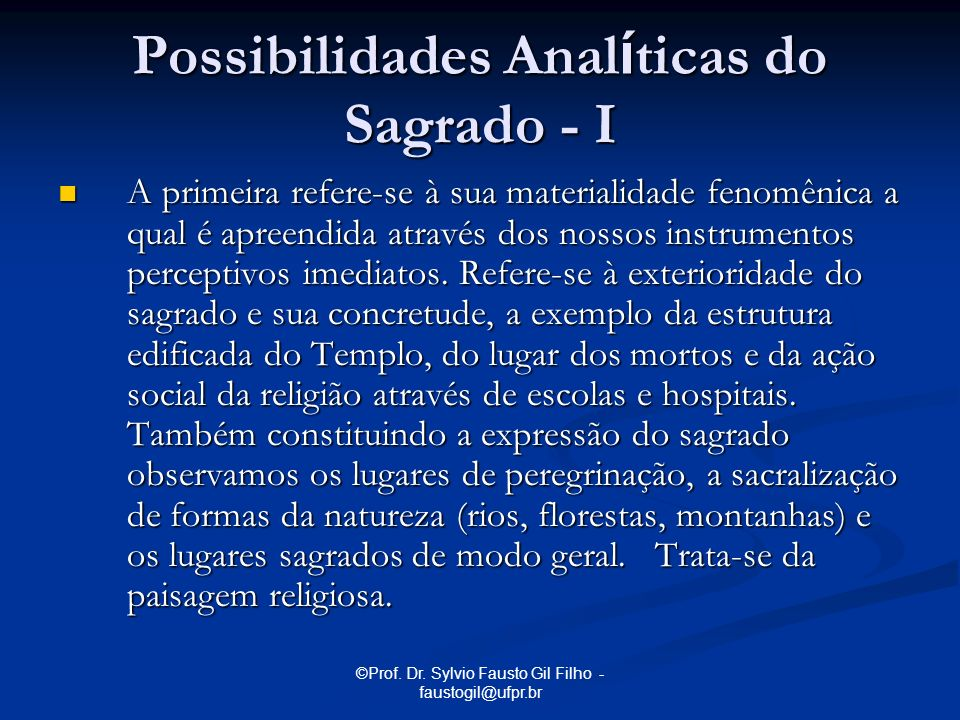 Possibilidades Analíticas do Sagrado - I