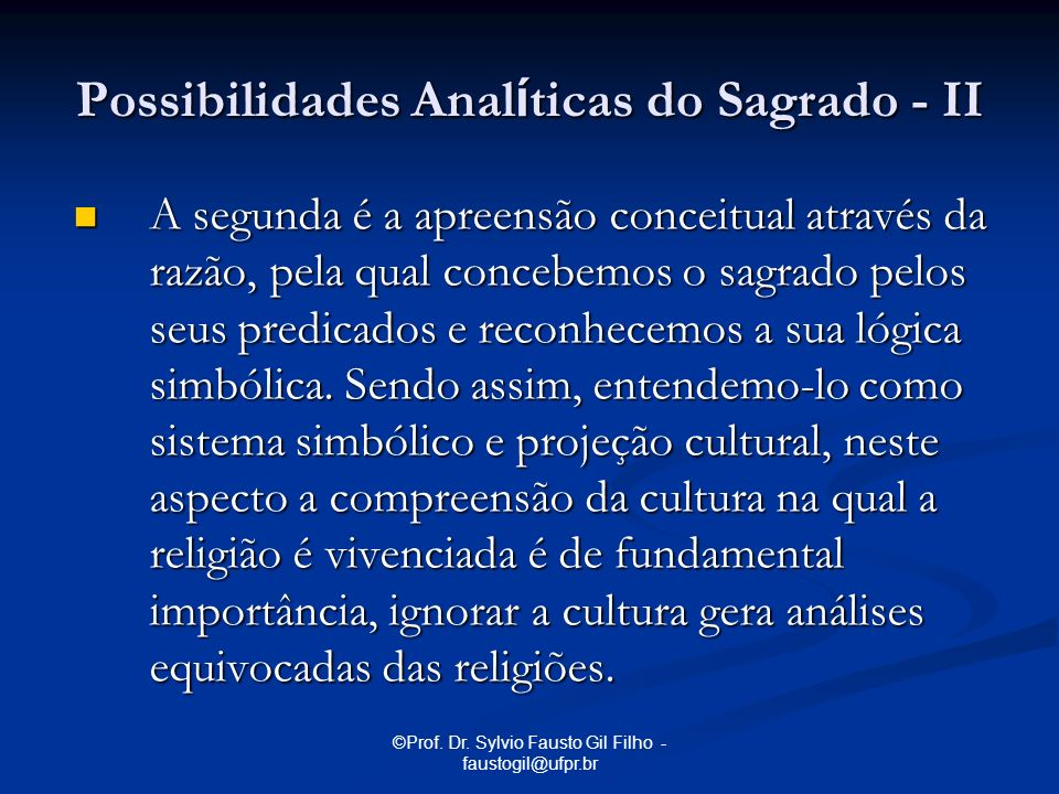 Possibilidades Analíticas do Sagrado - II