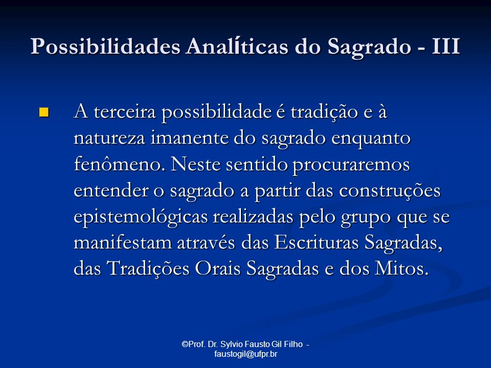 Possibilidades Analíticas do Sagrado - III