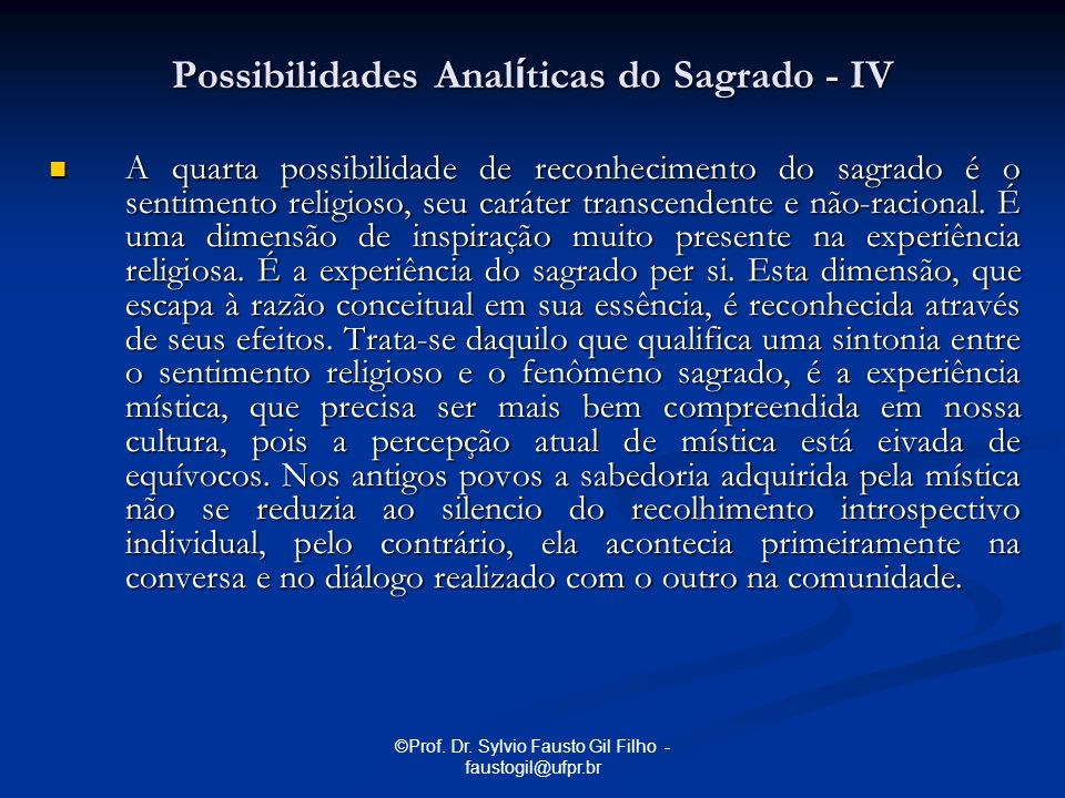 Possibilidades Analíticas do Sagrado - IV