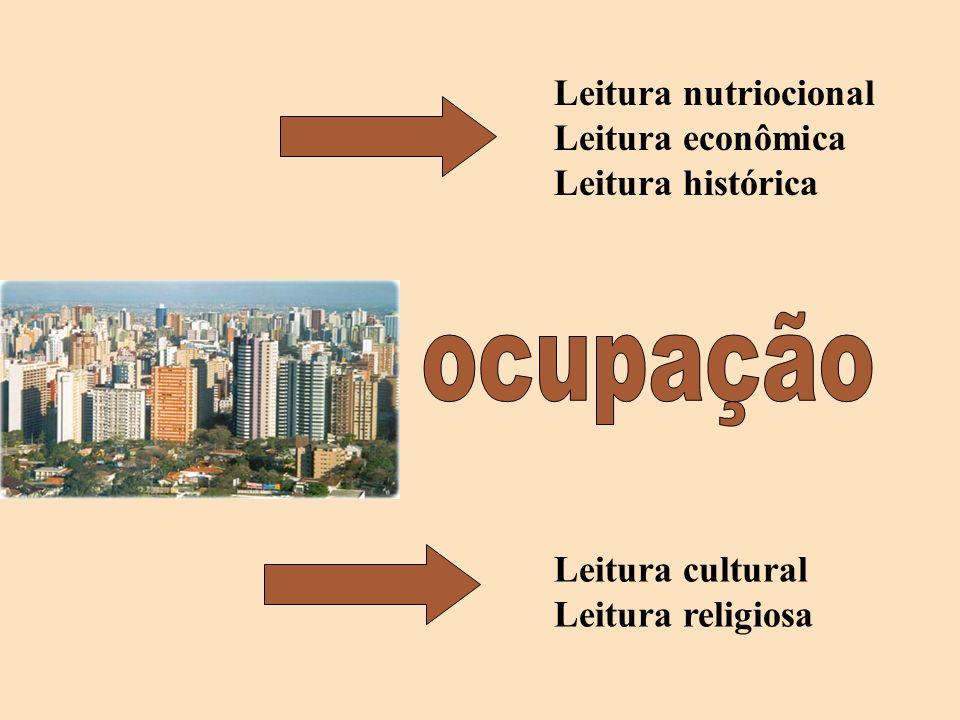 ocupação Leitura nutriocional Leitura econômica Leitura histórica